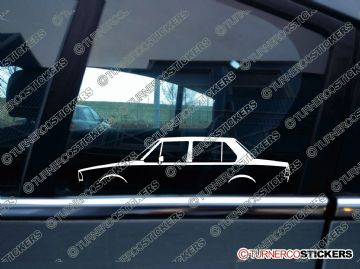 2x Car Silhouette sticker - Volkswagen Jetta MK1 classic 4-door saloon / sedan vw